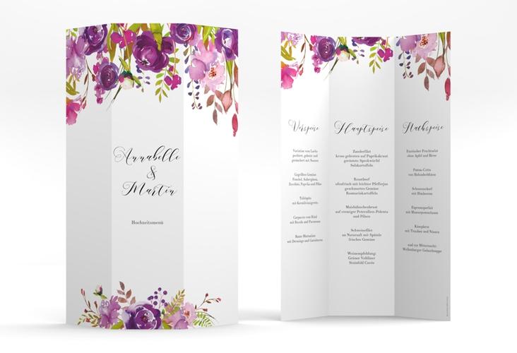 "Menükarte Hochzeit ""Violett"" DIN A4 Wickelfalz weiss"