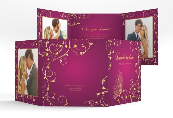 """Dankeskarte Hochzeit """"Eternity"""" Quadr. Karte doppelt pink"""