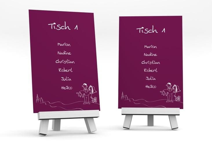 """Tischaufsteller Hochzeit """"Pisa"""" Tischaufsteller pink"""