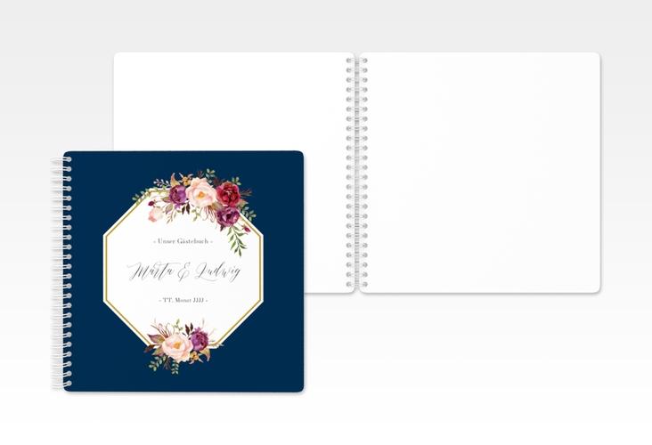"""Gästebuch Hochzeit """"Prachtvoll"""" Ringbindung blau"""