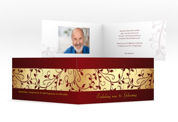 "Einladungskarte ""Hermann/Hermine"" DIN lang Klappkarte gold"