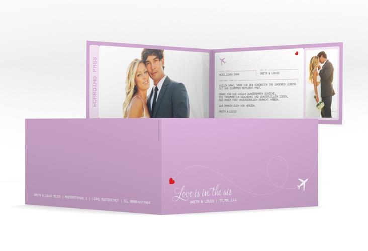 "Dankeskarte Hochzeit ""Weddingpass"" DIN lang Klappkarte flieder"