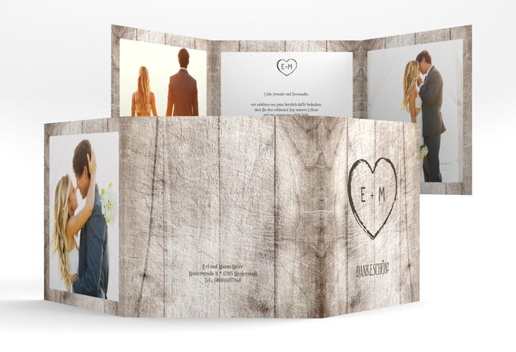 "Dankeskarte Hochzeit ""Wood"" Quadr. Karte doppelt weiss"