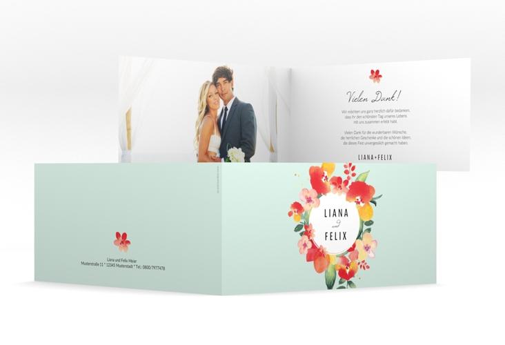 "Danksagungskarte Hochzeit ""Exotic"" DIN lang Klappkarte mint"