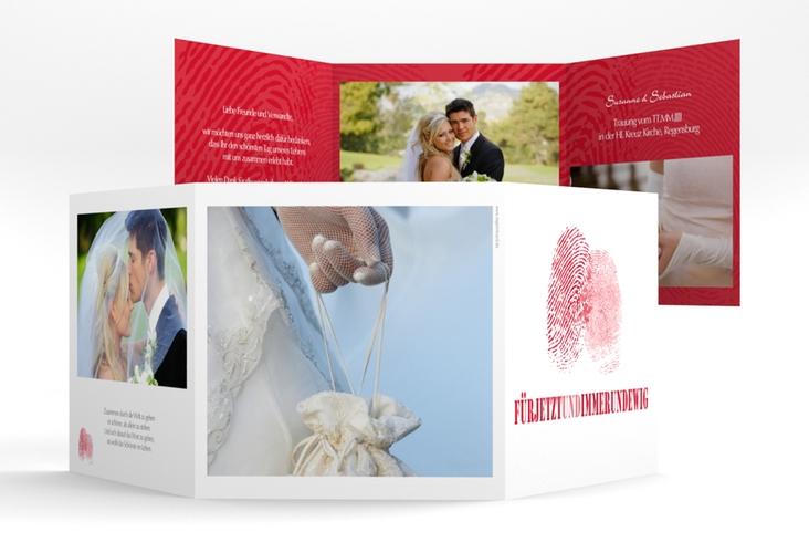 "Dankeskarte Hochzeit ""Messina"" Quadr. Karte doppelt rot"