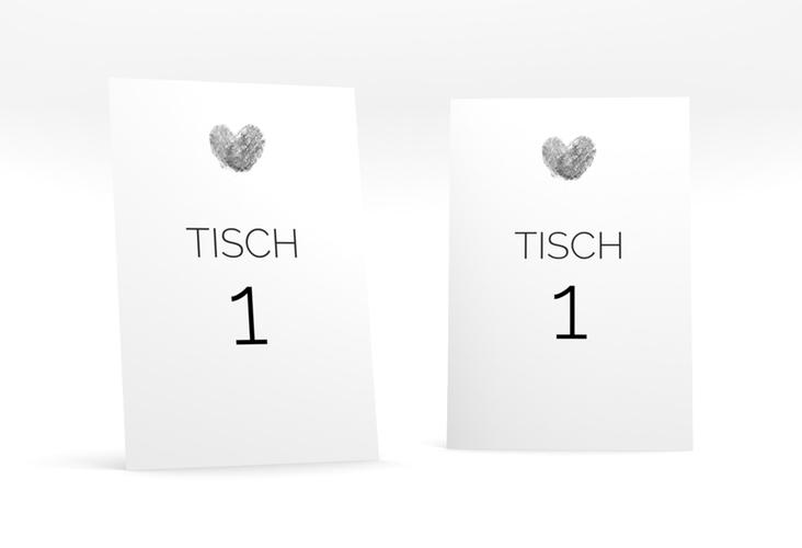 """Tischnummer Hochzeit """"Fingerprint"""" Tischaufsteller schwarz"""