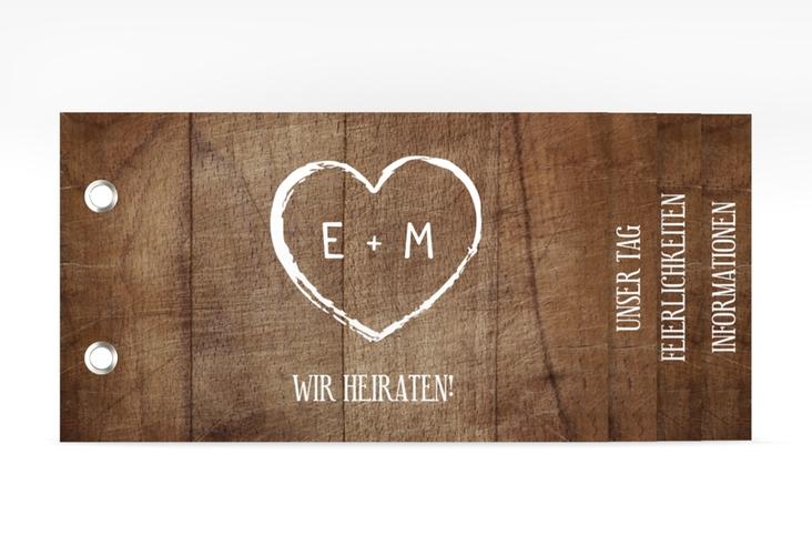 """Hochzeitseinladung """"Wood"""" Booklet braun"""