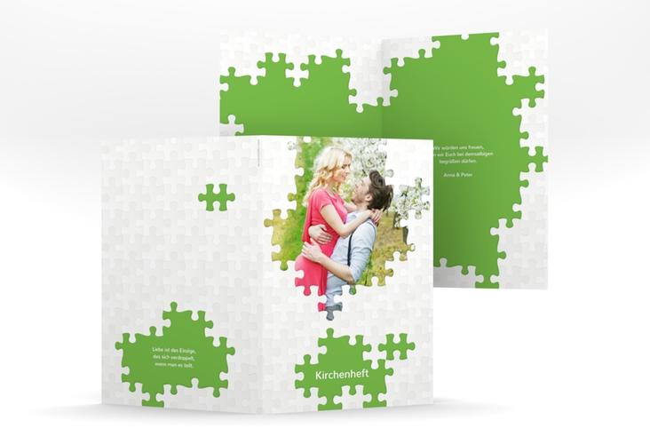 """Kirchenheft Hochzeit """"Puzzle"""" DIN A5 geklappt"""
