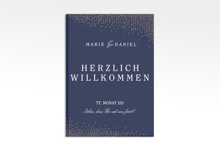 "Willkommensschild Leinwand ""Glitter"" 50 x 70 cm Leinwand blau"
