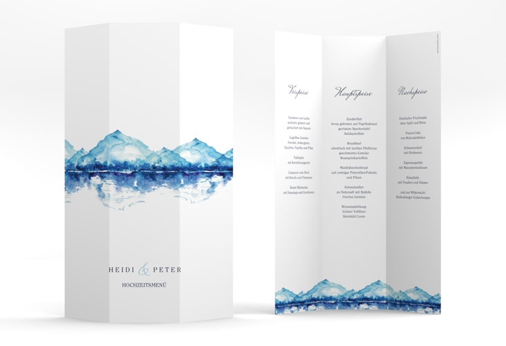 "Menükarte Hochzeit ""Bergliebe"" DIN A4 Wickelfalz blau"