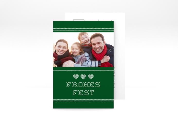 """Weihnachtskarte """"Stitch"""" A6 Postkarte gruen"""