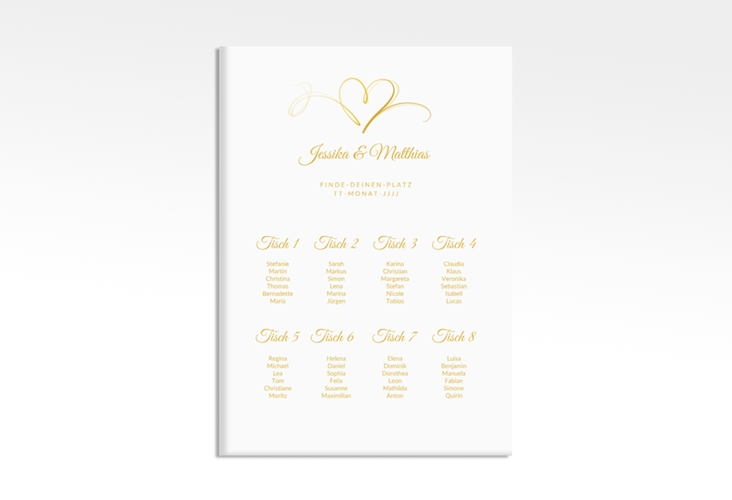 "Sitzplan Leinwand Hochzeit ""Envie"" 50 x 70 cm Leinwand gold"