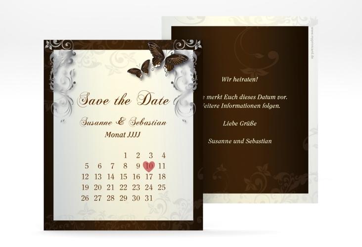 "Save the Date-Kalenderblatt ""Toulouse"" Kalenderblatt-Karte braun"