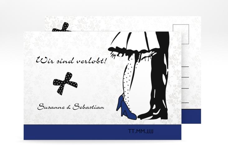 "Verlobungskarte Hochzeit ""Straßburg"" A6 Postkarte blau"