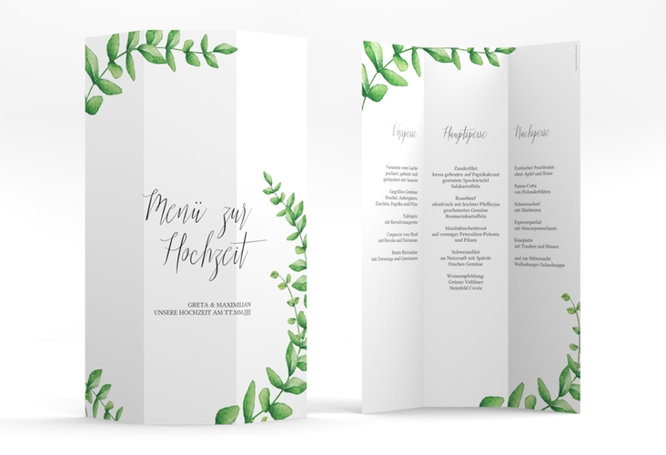 "Menükarte Hochzeit ""Botanic"" DIN A4 Wickelfalz weiss"