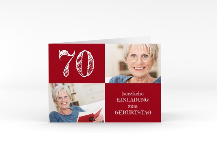 """Einladungskarte """"Lebensfreude"""" A6 Klappkarte Quer rot"""