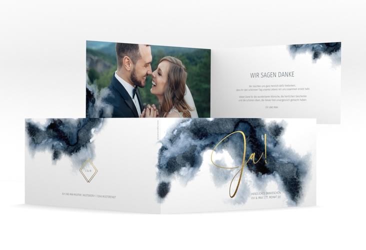 """Danksagungskarte Hochzeit """"Aquarellic"""" DIN lang Klappkarte weiss"""