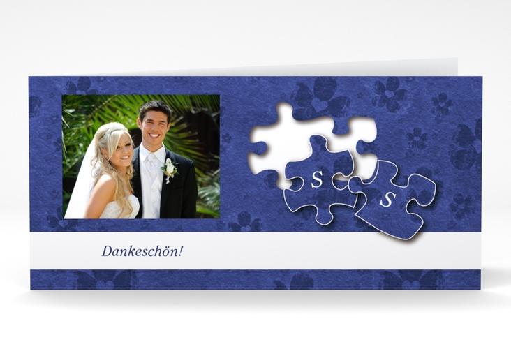 "Dankeskarte Hochzeit ""Ravensburg"" DIN lang Klappkarte blau"