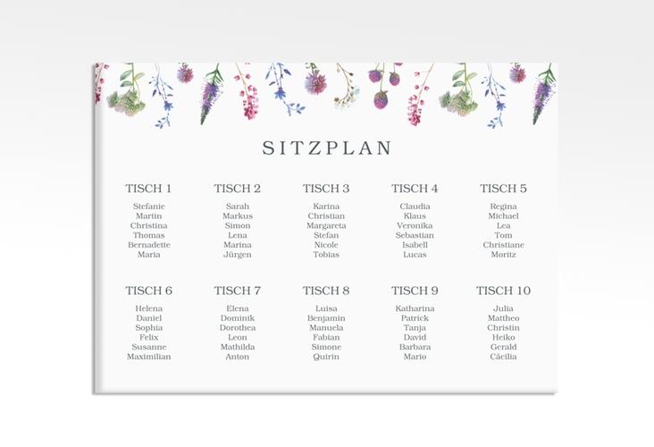 """Sitzplan Leinwand Hochzeit """"Wildblumen"""" 70 x 50 cm Leinwand weiss"""