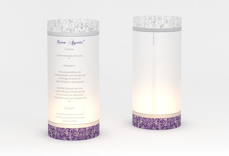 """Windlicht Menü Hochzeit """"Latina"""" Windlicht lila"""