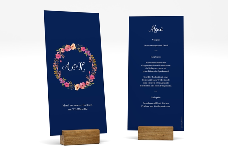 """Menükarte Hochzeit """"Fiore"""" DIN lang hoch blau"""