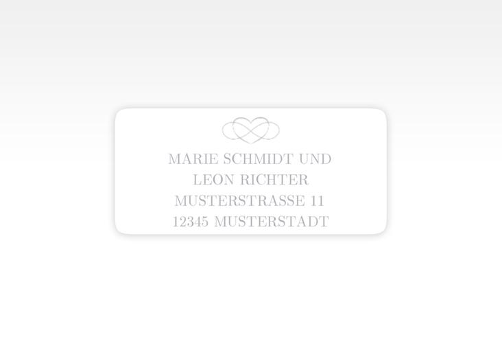"""Absenderetikett Hochzeit """"Infinity"""" 45,7 x 21,2 mm grau"""