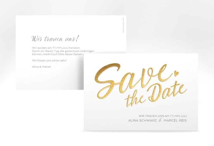 """Save the Date-Karte """"Glam"""" A6 quer weiss"""