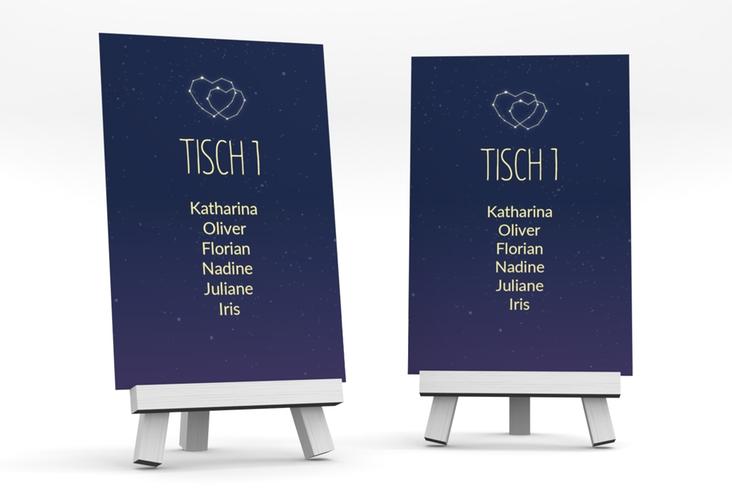 """Tischaufsteller Hochzeit """"Sternenbild"""" Tischaufsteller blau"""