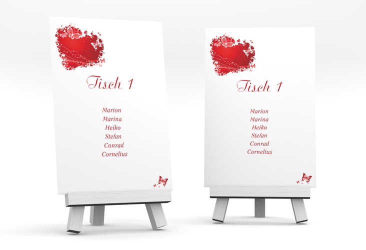 """Tischaufsteller Hochzeit """"Mailand"""" Tischaufsteller rot"""