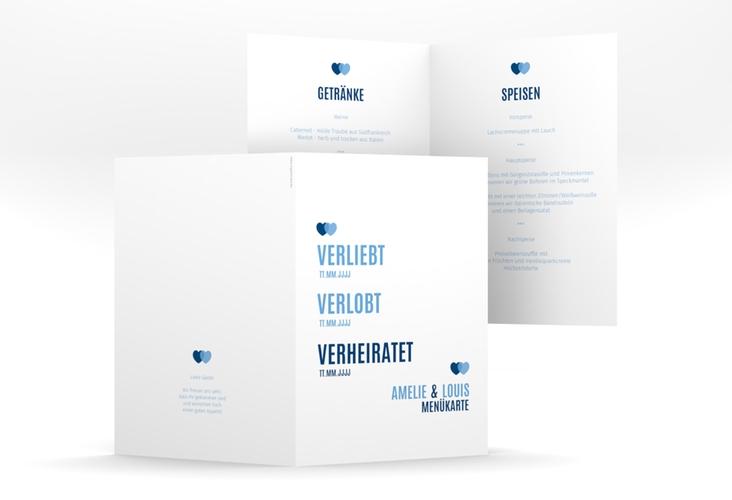 """Menükarte Hochzeit """"Couple"""" DIN A5 geklappt blau"""