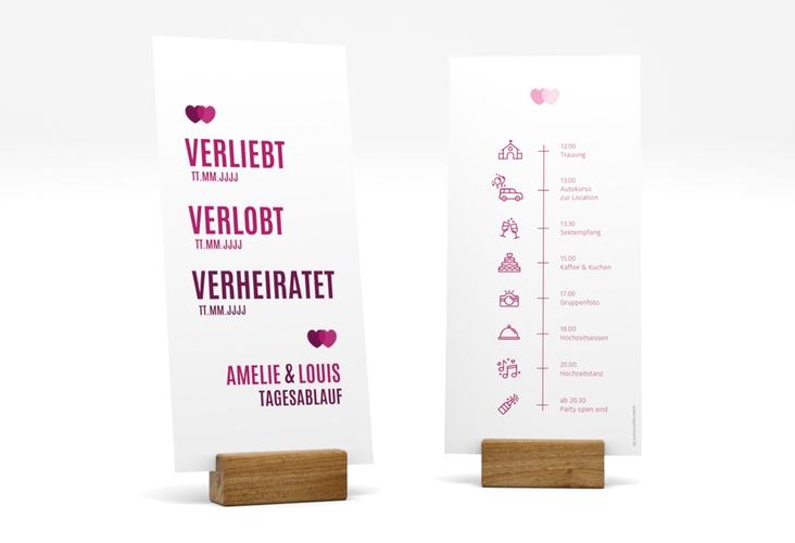 """Tagesablauf Hochzeit """"Couple"""" DIN lang hoch pink"""