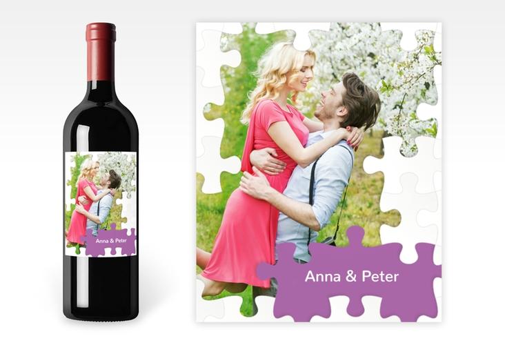 """Weinetikett zur Hochzeit """"Puzzle"""" Etikett Weinflasche 4er Set lila"""