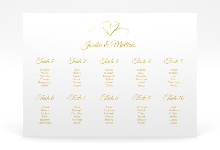 """Sitzplan Poster Hochzeit """"Envie"""" 70 x 50 cm Poster gold"""