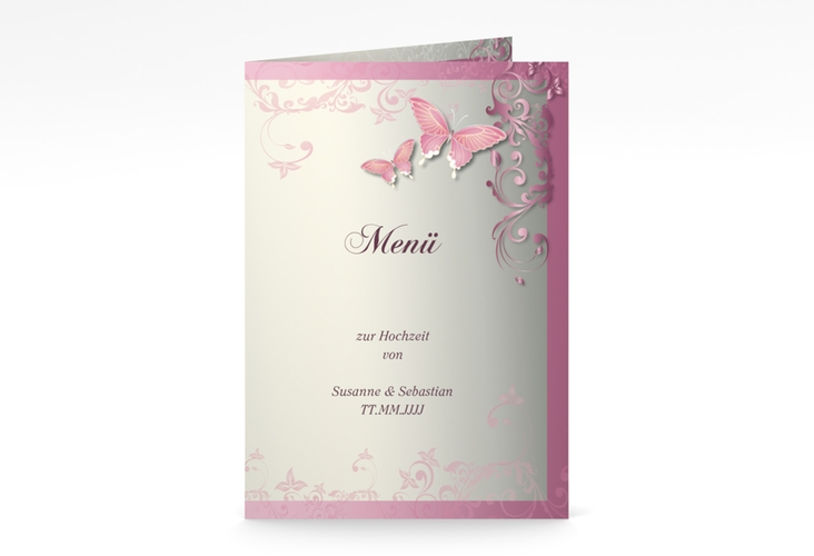 "Menükarte Hochzeit ""Toulouse"" DIN A5 geklappt rosa"
