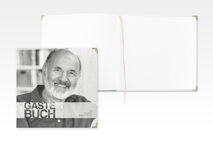 "Gästebuch Selection Geburtstag ""Banderole"" Leinen-Hardcover weiss"