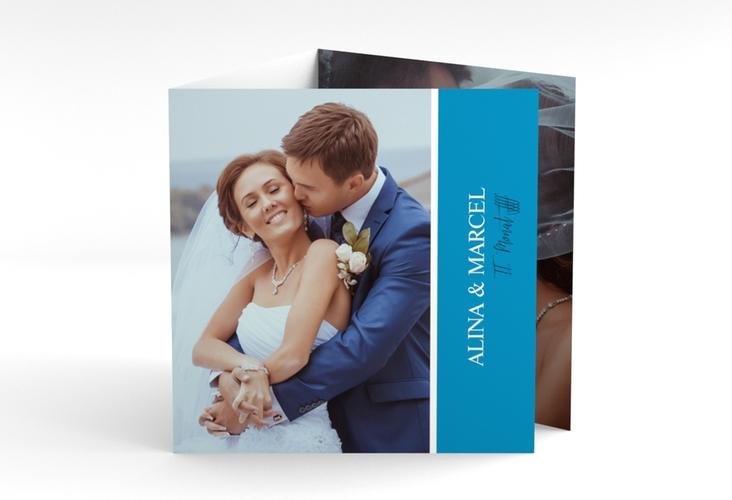"Dankeskarte Hochzeit ""Classic"" Quadr. Karte doppelt blau"