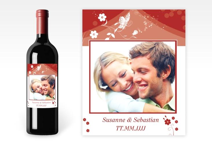 """Weinflaschenetikett Hochzeit """"Verona"""" Etikett Weinflasche 4er Set rot"""