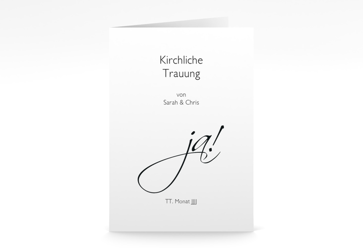 """Kirchenheft Hochzeit """"Clarity"""" DIN A5 geklappt"""