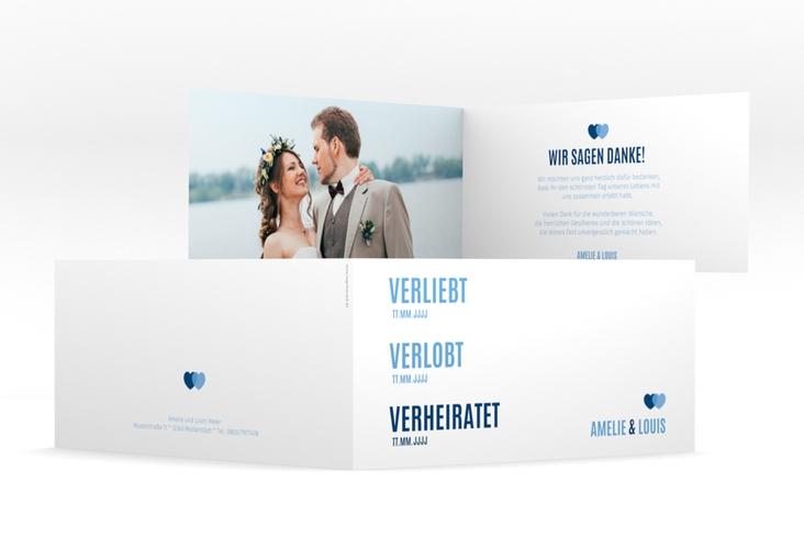 "Danksagung Hochzeit ""Couple"" DIN lang Klappkarte blau"