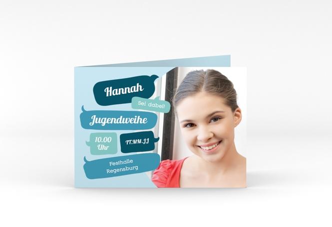"Einladungskarte Jugendweihe ""Grownup"" A6 Klappkarte Quer"