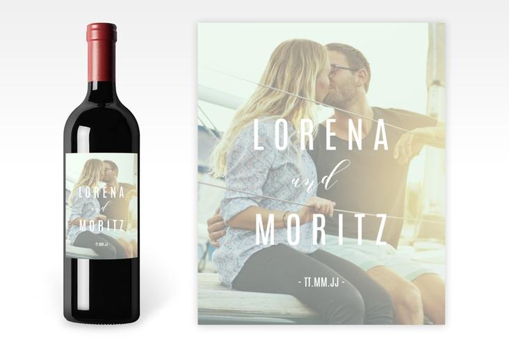 """Weinetikett Hochzeit """"Memory"""" Etikett Weinflasche 4er Set mint"""