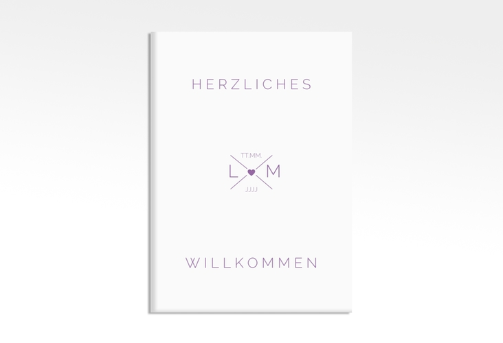 """Willkommensschild Hochzeit """"Initials"""" 50 x 70 cm Leinwand lila"""