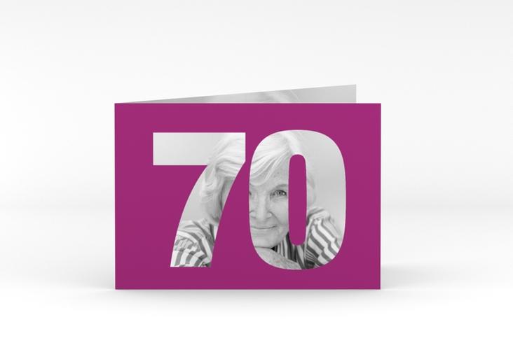 "Einladungskarte ""Numbers"" A6 Klappkarte Quer pink"
