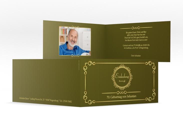 "Einladungskarte ""Bert/Berta"" DIN lang Klappkarte gruen"
