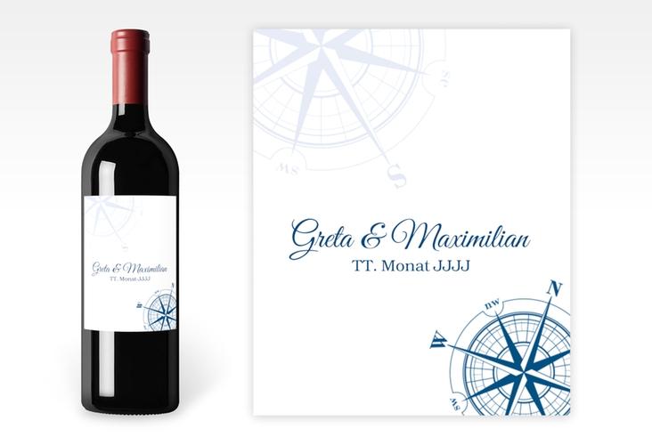 """Weinetikett zur Hochzeit """"Windrose"""" Etikett Weinflasche 4er Set"""