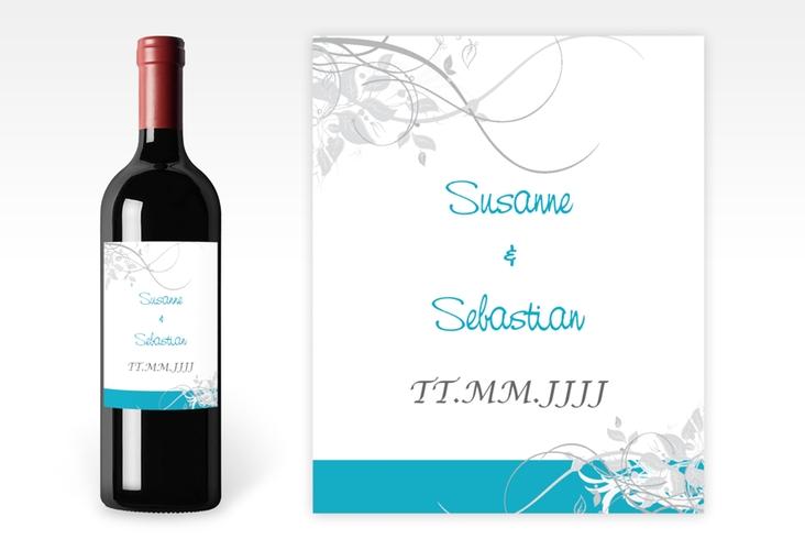 """Weinflaschenetikett Hochzeit """"Florenz"""" Etikett Weinflasche 4er Set tuerkis"""