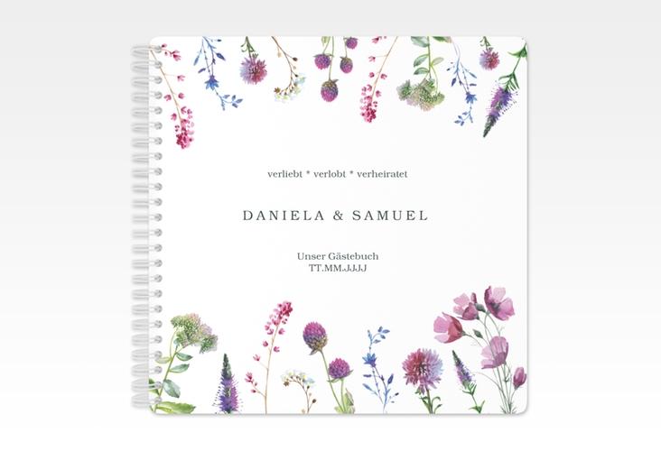 """Gästebuch Hochzeit """"Wildblumen"""" Ringbindung"""