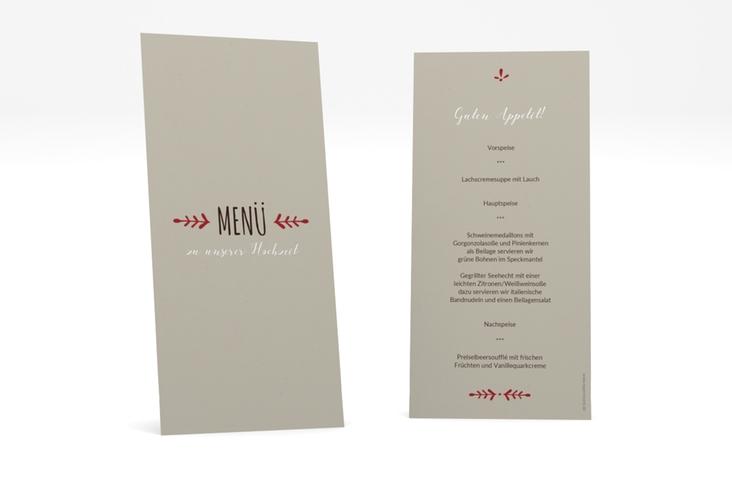 "Menükarte Hochzeit ""Eden"" DIN lang hoch rot"