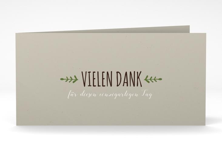 "Danksagung Hochzeit ""Eden"" DIN lang Klappkarte gruen"
