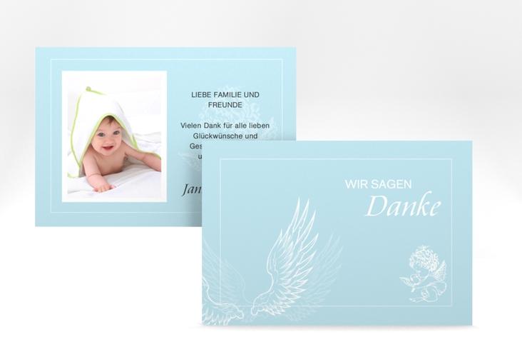 "Dankeskarte Taufe ""Angel"" A6 quer blau"